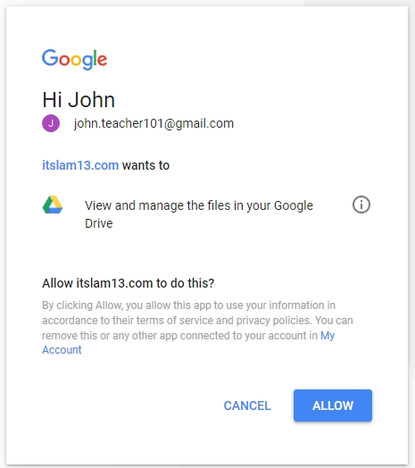 google permission